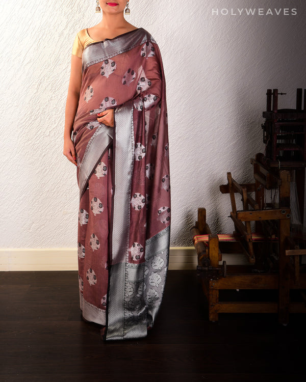 Brown Banarasi Alfi Buta Cutwork Brocade Woven Cotton Silk Saree with Black & Silver Weave