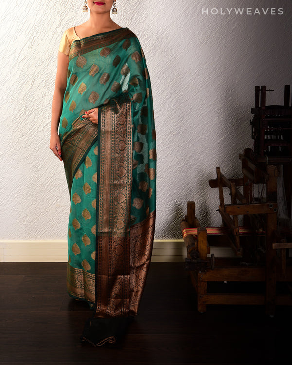 Green Banarasi Antique Zari Buta Cutwork Brocade Woven Cotton Silk Saree