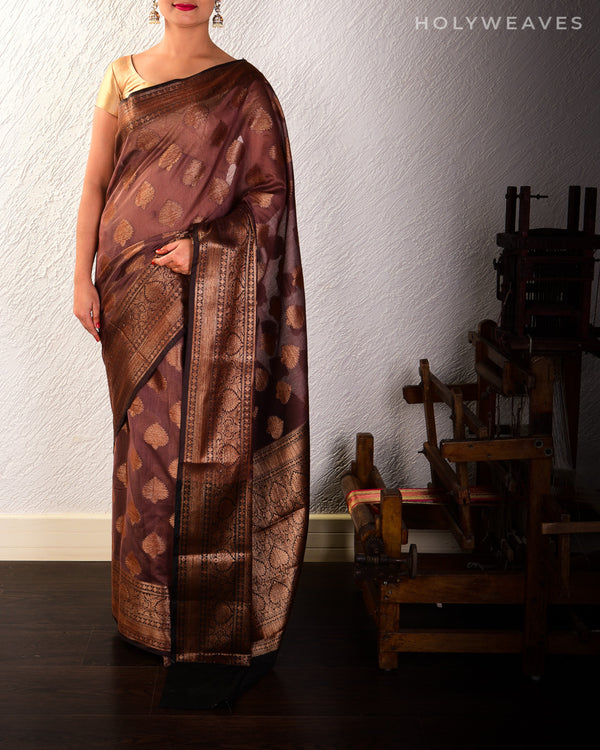 Brown Banarasi Antique Zari Buta Cutwork Brocade Woven Cotton Silk Saree