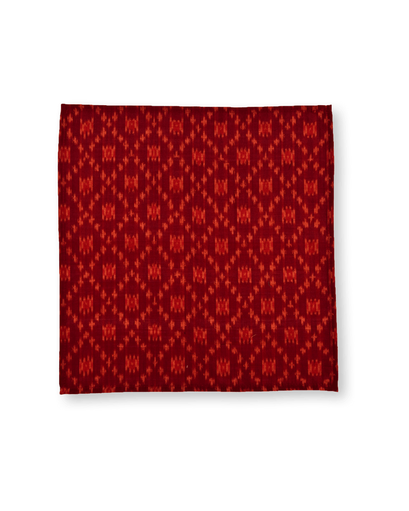 Maroon Ikat Handwoven Cotton Silk Pocket Square For Men - HolyWeaves