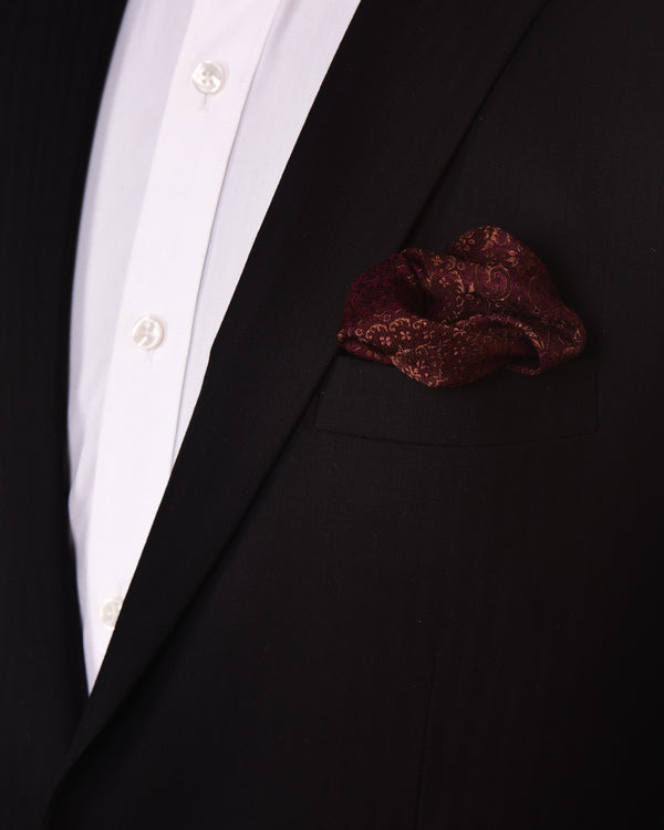 Mahogany Tanchoi Handwoven Silk-wool Pocket Square For Men - HolyWeaves