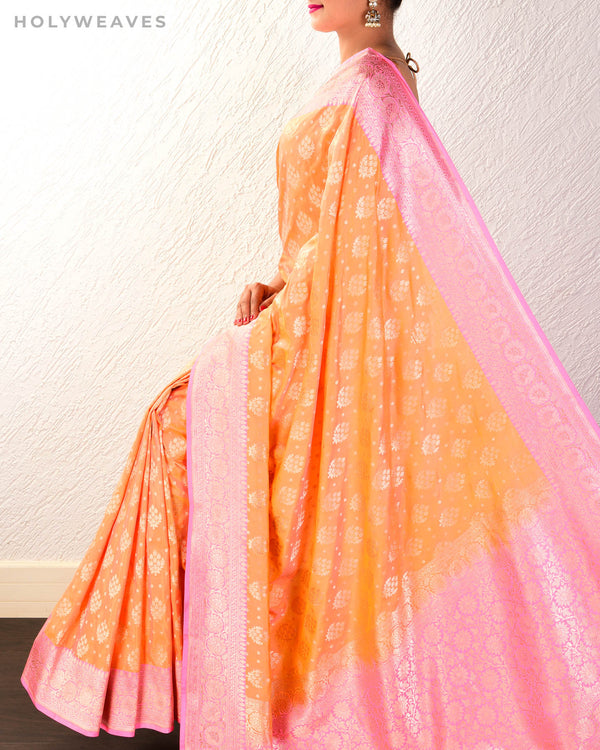 Peach Banarasi Buti Cutwork Brocade Handwoven Katan Georgette Saree with Contrast Pink Border Pallu