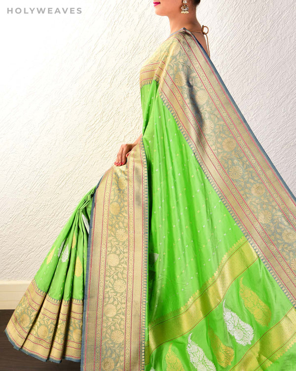 Bud Green Banarasi Sona-Rupa Kadhuan Brocade Handwoven Katan Silk Saree with Brocade Blouse Piece