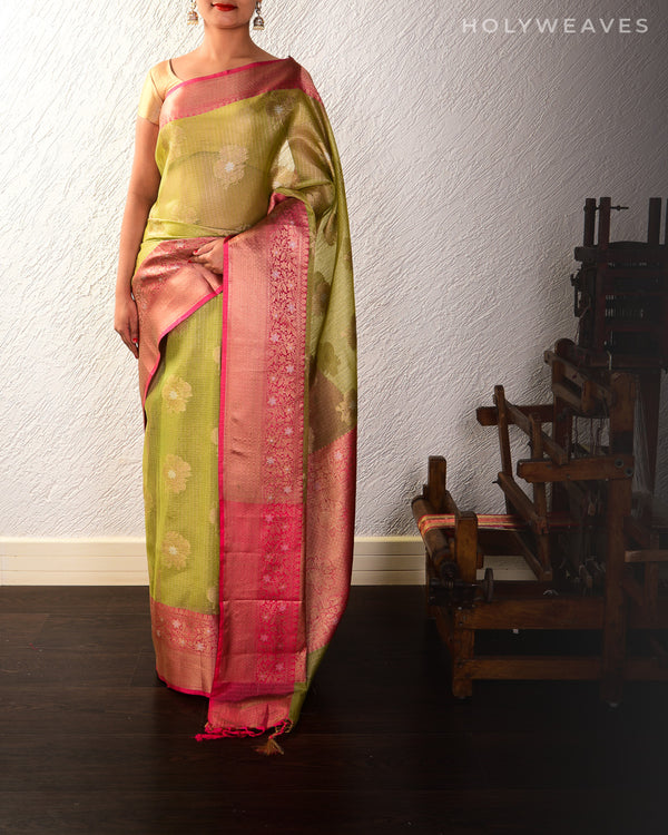 Green Banarasi Sona-Rupa Cutwork Brocade Woven Kota Tissue Saree with Contrast Brocade Blouse Piece
