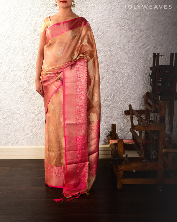 Peach Banarasi Sona-Rupa Cutwork Brocade Woven Kota Tissue Saree with Contrast Brocade Blouse Piece - HolyWeaves