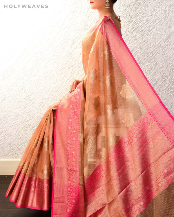 Peach Banarasi Sona-Rupa Cutwork Brocade Woven Kota Tissue Saree with Contrast Brocade Blouse Piece