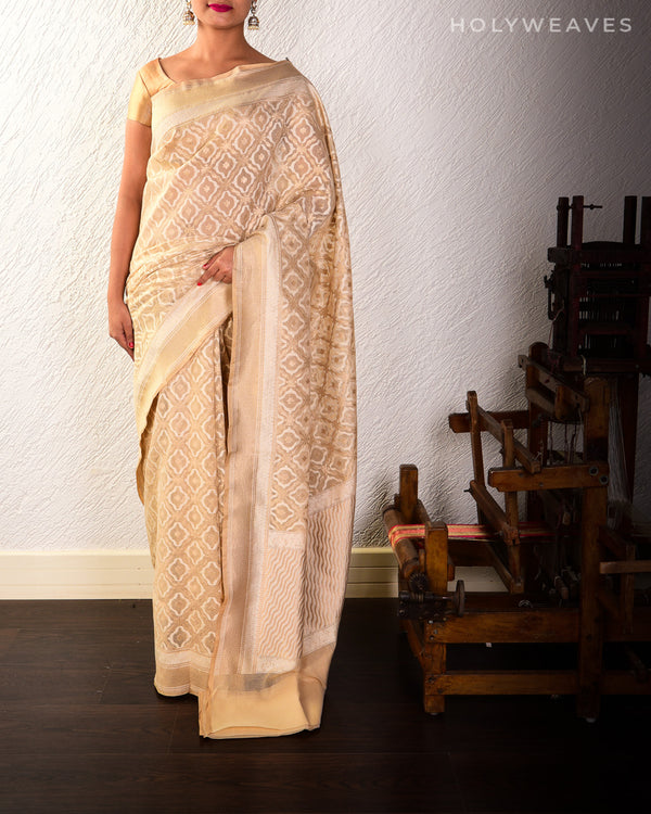 Beige Banarasi Alfi Jangla Cutwork Brocade Handwoven Cotton Silk Saree