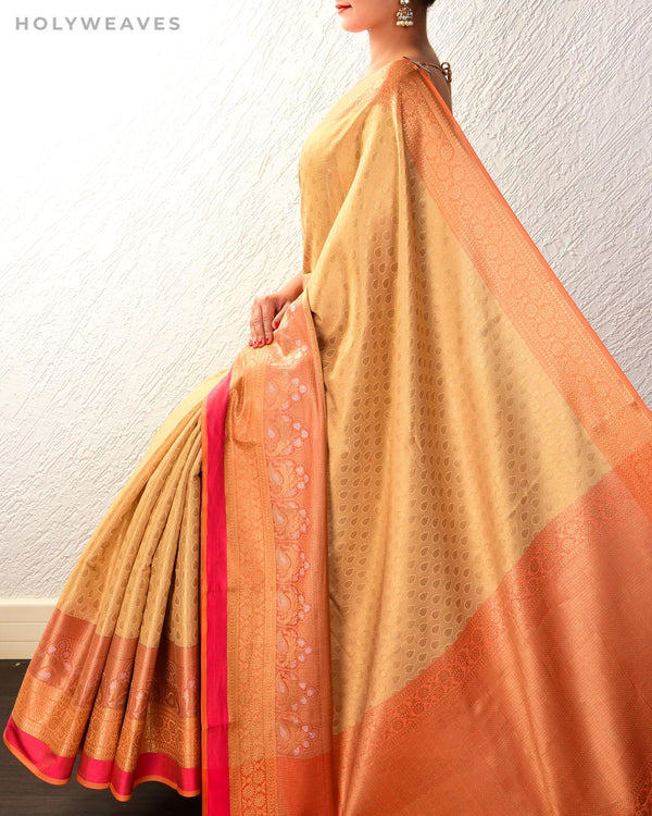 Beige Banarasi Cutwork Brocade Woven Cotton Tissue Saree with Contrast Border Pallu