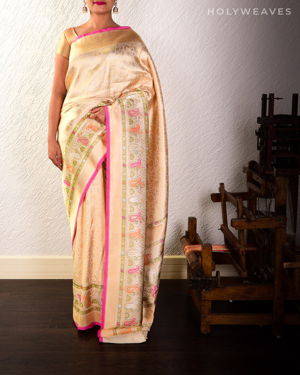 Cream Banarasi Kadhuan Brocade Handwoven Katan Silk Saree with Tehra Meena Border