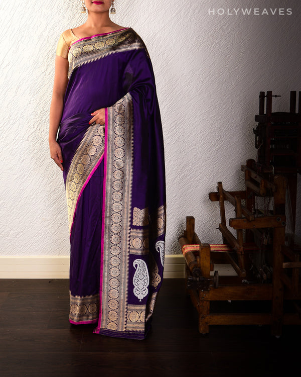 Purple Banarasi Koniya Buta Kadhuan Brocade Handwoven Katan Silk Saree with Brocade Blouse Piece