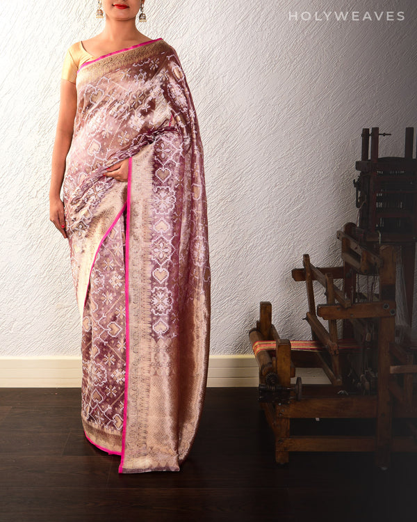 English Lavender Banarasi Patola Alfi Cutwork Brocade Handwoven Kora Tissue Saree
