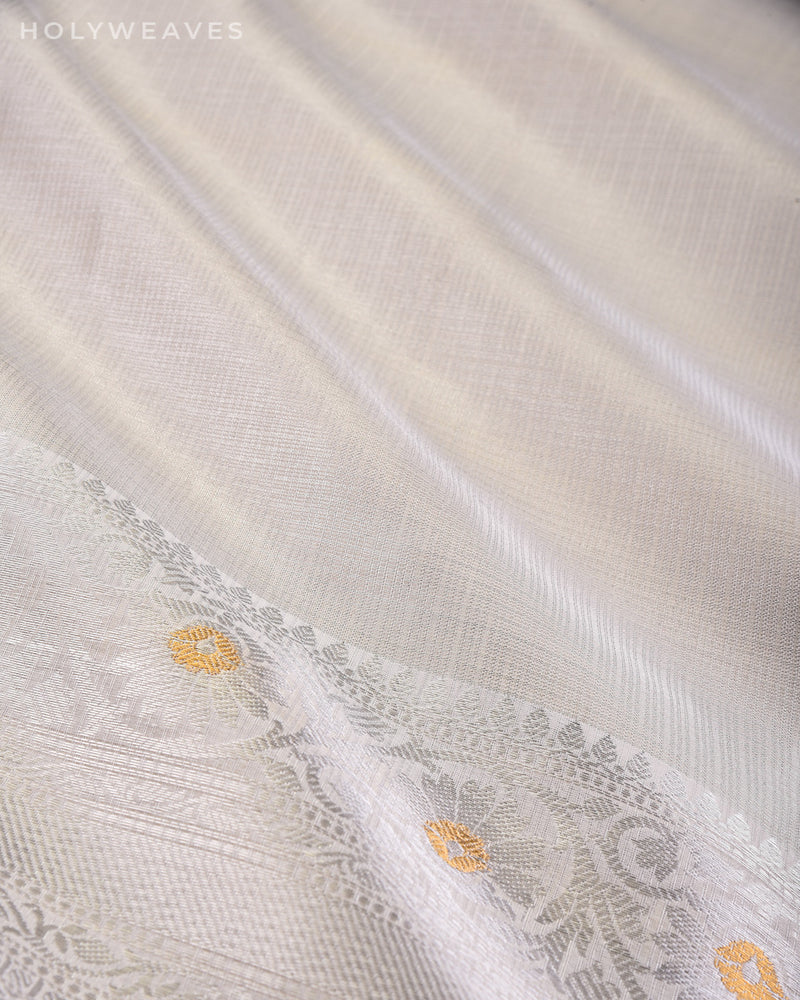 Silver Banarasi Brocade Woven Kota Tissue Saree with Sona-Rupa Brocade Border - HolyWeaves