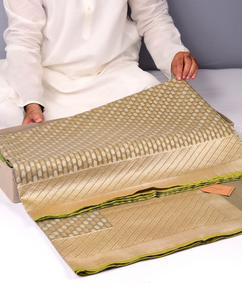 Olive Green Banarasi Alfi Cutwork Brocade Handwoven Cotton Silk Saree - HolyWeaves
