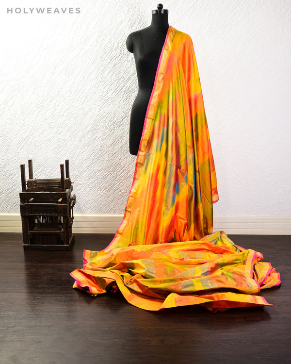 Vibgyor Yellow Banarasi Chevron Ikat Handwoven Katan Silk Fabric-HolyWeaves