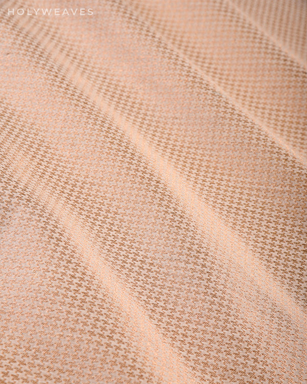 Cream Banarasi Zari Houndstooth Brocade Handwoven Cotton Silk Fabric - HolyWeaves