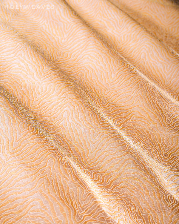 Golden Beige Banarasi RB Tiger Alfi Sona Rupa Brocade Handwoven Katan Silk Fabric - HolyWeaves