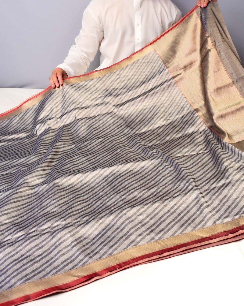 Gray Banarasi Diagonal Zari Stripes Brocade Handwoven Katan Silk Saree - HolyWeaves