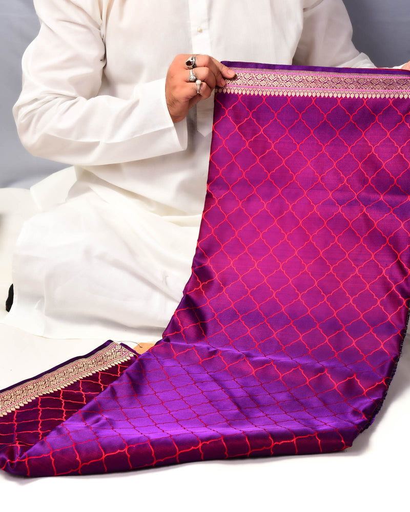 Shot Purple Banarasi Moroccon Grid Tanchoi Brocade Handwoven Katan Silk Saree