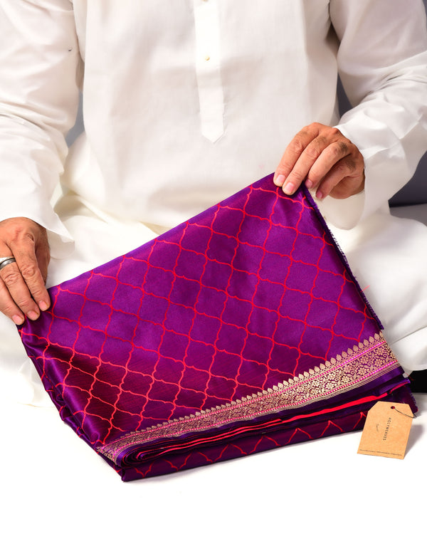 Shot Purple Banarasi Moroccon Grid Tanchoi Brocade Handwoven Katan Silk Saree - HolyWeaves
