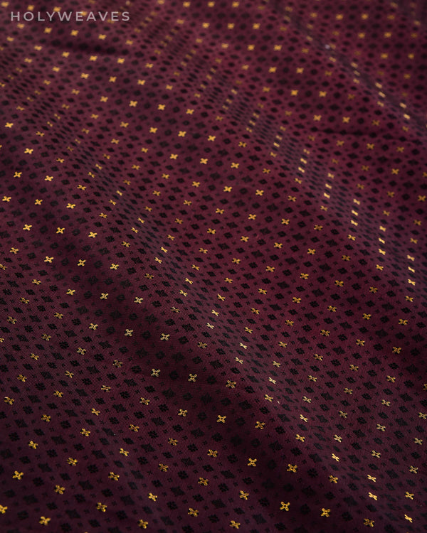 Deep Garnet Banarasi Tanchoi Brocade Handwoven Katan Silk Fabric with Zari Buti-HolyWeaves