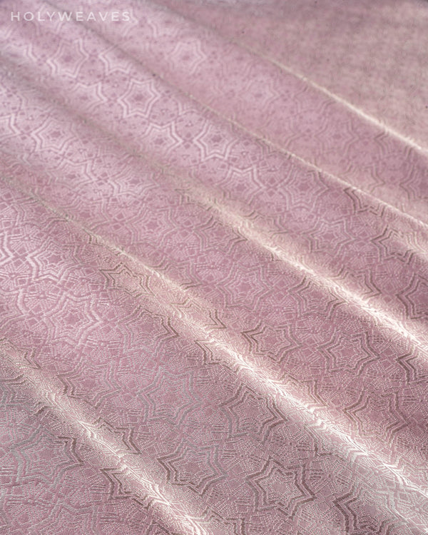 Metallic Gray Banarasi Star Roopa Zari Cutwork Brocade Handwoven Katan Silk Fabric - HolyWeaves