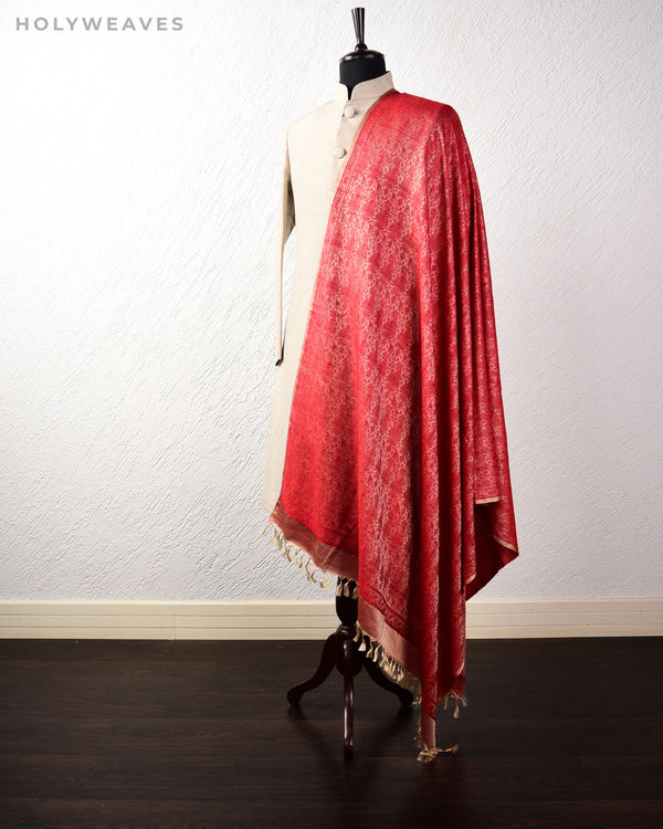 Beige Red Banarasi Jamawar Handwoven Silk Wool Shawl