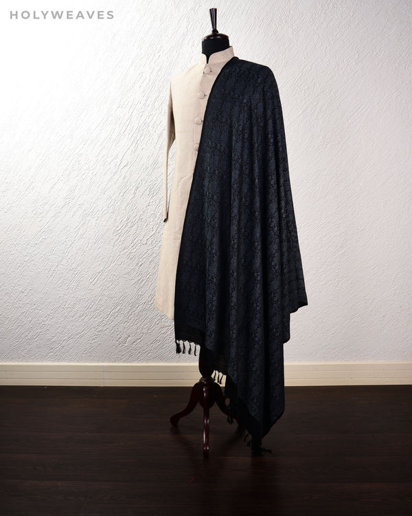 Black Gray Banarasi Jamawar Handwoven Silk Wool Shawl