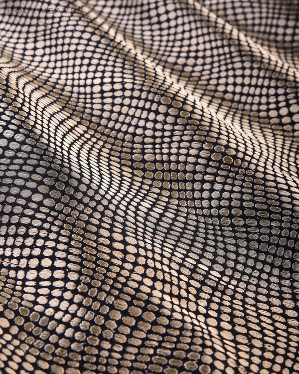 Black Banarasi Python Brocade Handwoven Katan Silk Fabric - HolyWeaves