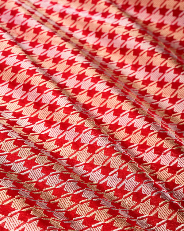 Red Banarasi Double Zari Houndstooth Alfi Sona Rupa Brocade Handwoven Katan Silk Fabric - HolyWeaves