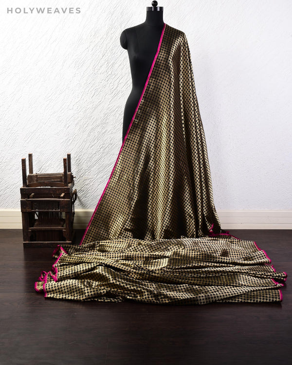 Black Banarasi Double Zari Houndstooth Brocade Handwoven Katan Silk Fabric - HolyWeaves