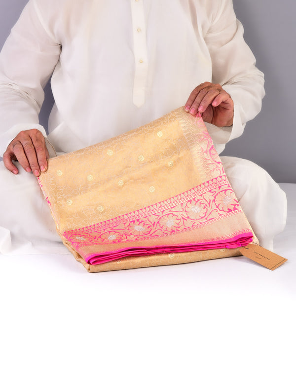 Gold Banarasi Alfi Basket Kadhuan Brocade Handwoven Katan Tissue Saree with Contrast Pink Border Pallu - HolyWeaves