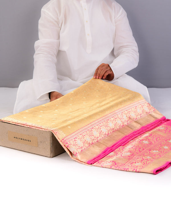 Gold Banarasi Alfi Basket Kadhuan Brocade Handwoven Katan Tissue Saree with Contrast Pink Border Pallu-HolyWeaves