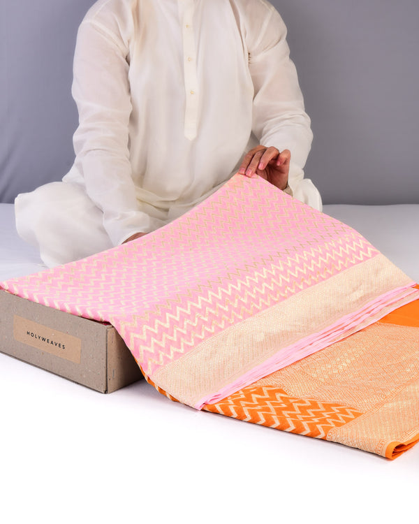 Pink-Orange Banarasi Zari Chevron Cutwork Brocade Handwoven Khaddi Georgette Saree - HolyWeaves
