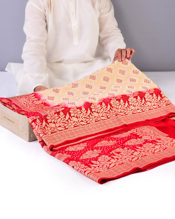 Cream Banarasi Cutwork Brocade Handwoven Khaddi Georgette Saree with Red Bandhej - HolyWeaves
