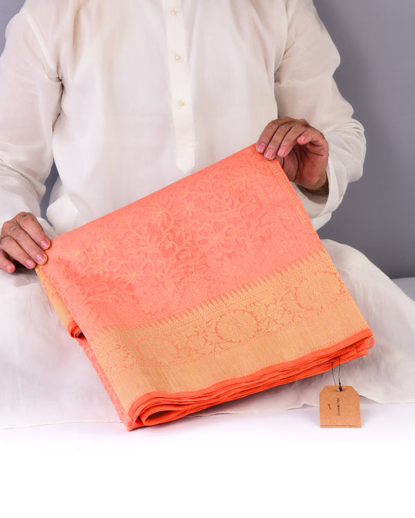 Peach Banarasi Alfi Cutwork Brocade Handwoven Kora Silk Saree - HolyWeaves