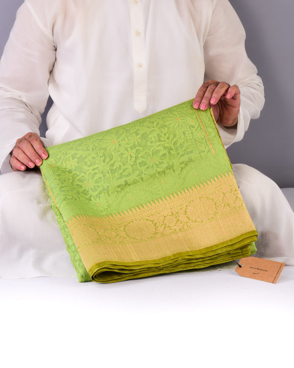 Green Banarasi Alfi Cutwork Brocade Handwoven Kora Silk Saree