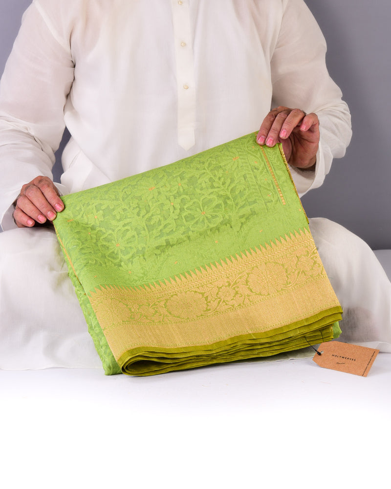 Green Banarasi Alfi Cutwork Brocade Handwoven Kora Silk Saree - HolyWeaves