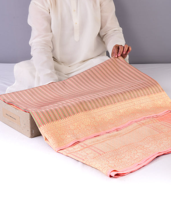 Peach Banarasi Brocade Handwoven Kora Silk Saree