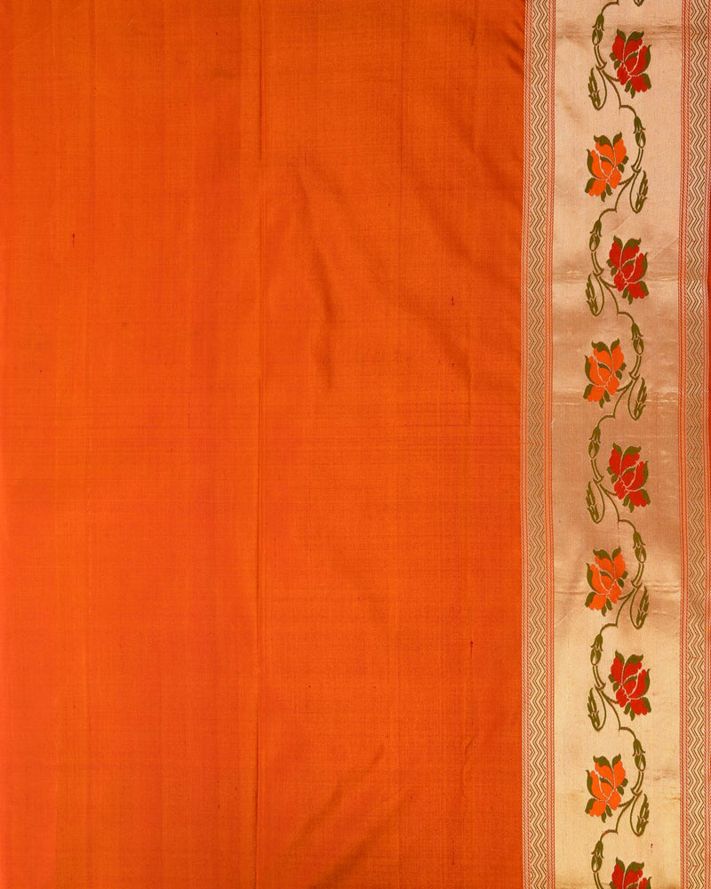 Shot Orange Banarasi Tehra Meena Paithani Handwoven Katan Silk Saree - HolyWeaves