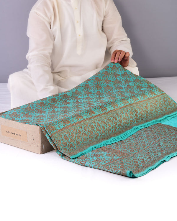 Caribbean Green Banarasi Antique Zari Brocade Handwoven Katan Silk Saree - HolyWeaves