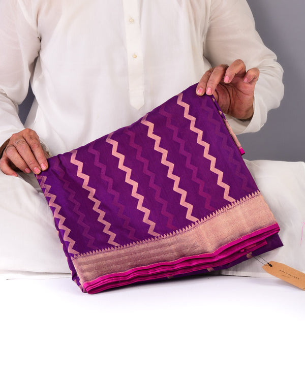 Purple Banarasi Chevron Zari & Resham Cutwork Brocade Handwoven Cotton Silk Saree - HolyWeaves