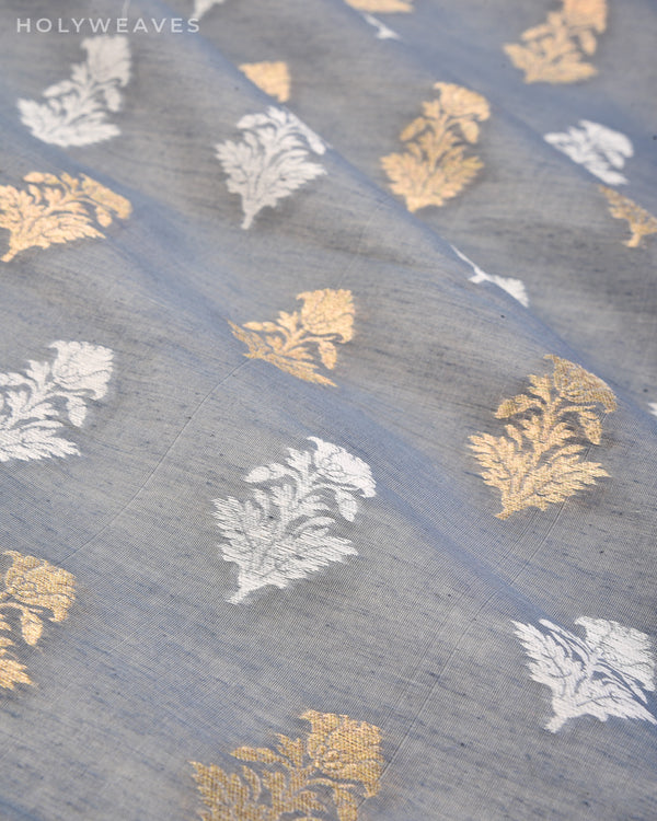Gray Banarasi Alfi Buti Cutwork Brocade Handwoven Cotton Silk Fabric - HolyWeaves