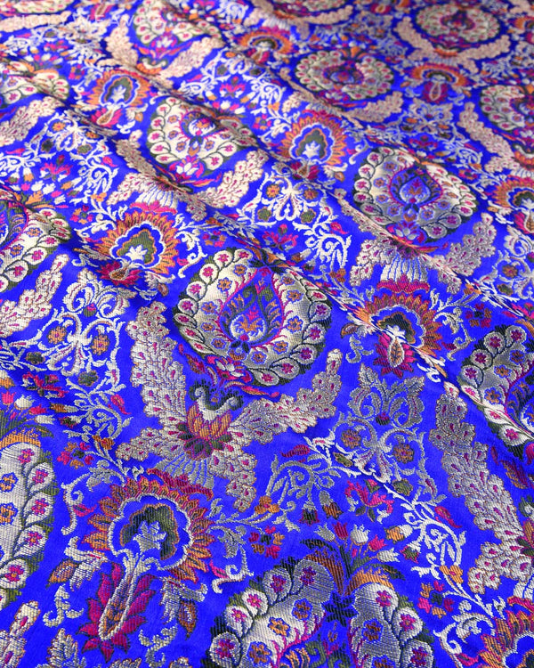Royal Blue Banarasi Kimkhwab Brocade Handwoven Viscose Silk Fabric - HolyWeaves