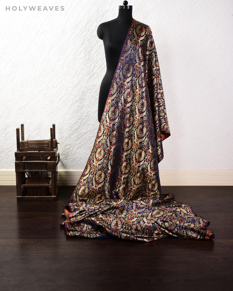 Navy Blue Banarasi Kimkhwab Brocade Handwoven Viscose Silk Fabric - HolyWeaves