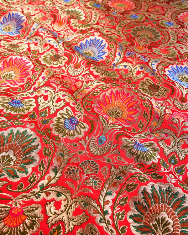 Red Banarasi Kimkhwab Brocade Handwoven Viscose Silk Fabric - HolyWeaves