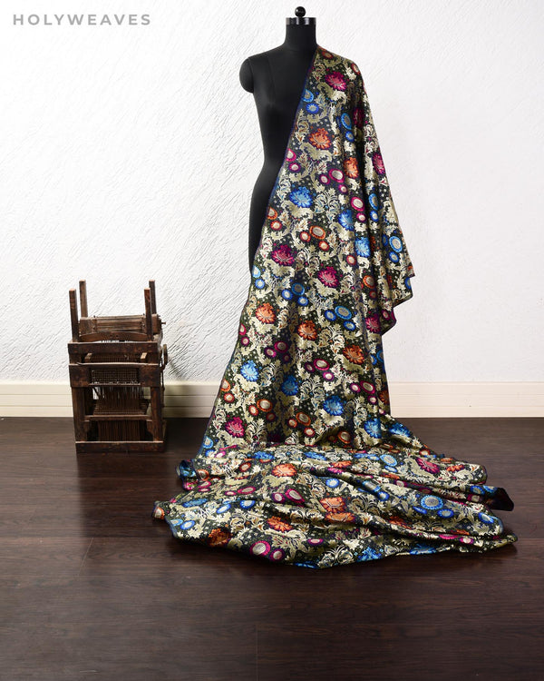 Black Navy Blue Banarasi Kimkhwab Brocade Handwoven Viscose Silk Fabric - HolyWeaves