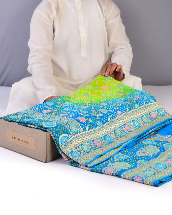 Blue-Green Banarasi Bandhej with Meenekari Weave Cutwork Brocade Khaddi Georgette Saree - HolyWeaves