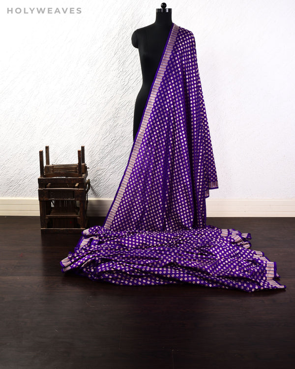 Purple Banarasi Alfi Sona Rupa Buti Cutwork Brocade Handwoven Katan Silk Fabric - HolyWeaves