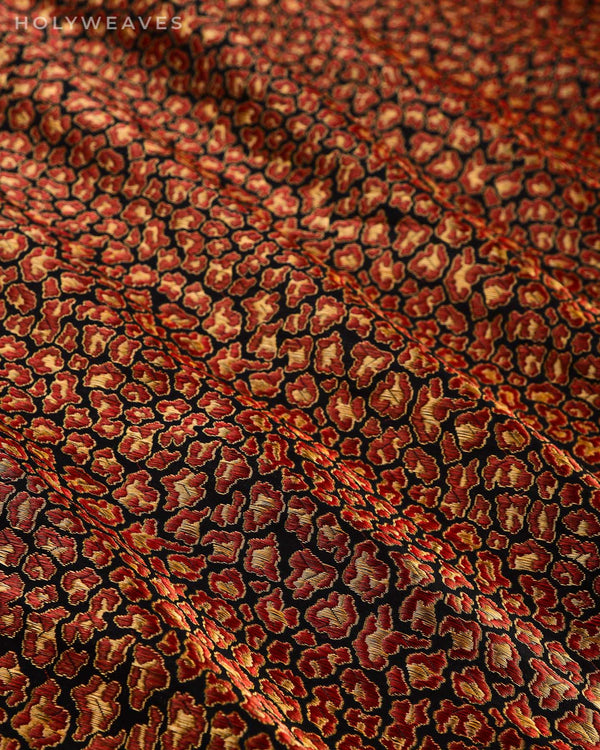 Black Banarasi Leopard Brocade Handwoven Katan Silk Fabric - HolyWeaves