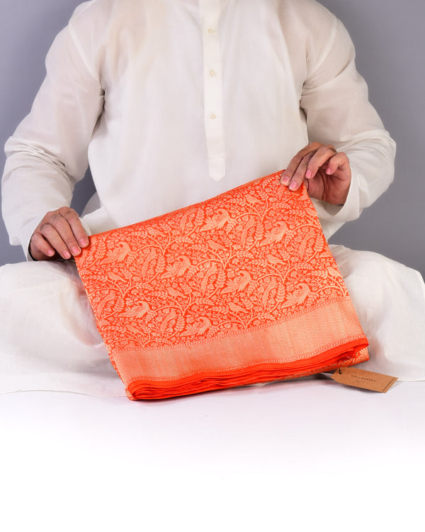 Orange Banarasi Shikargah Brocade Handwoven Katan Silk Saree - HolyWeaves